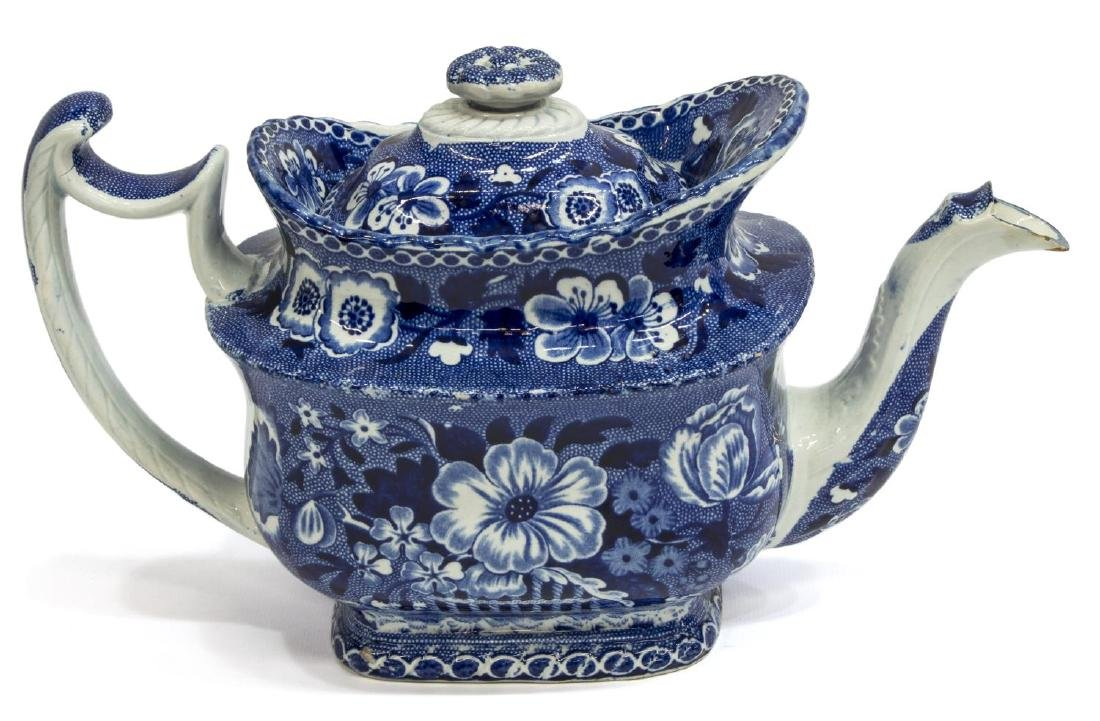 ENGLISH STAFFORDSHIRE DARK BLUE TEAPOT, WOODS - 2