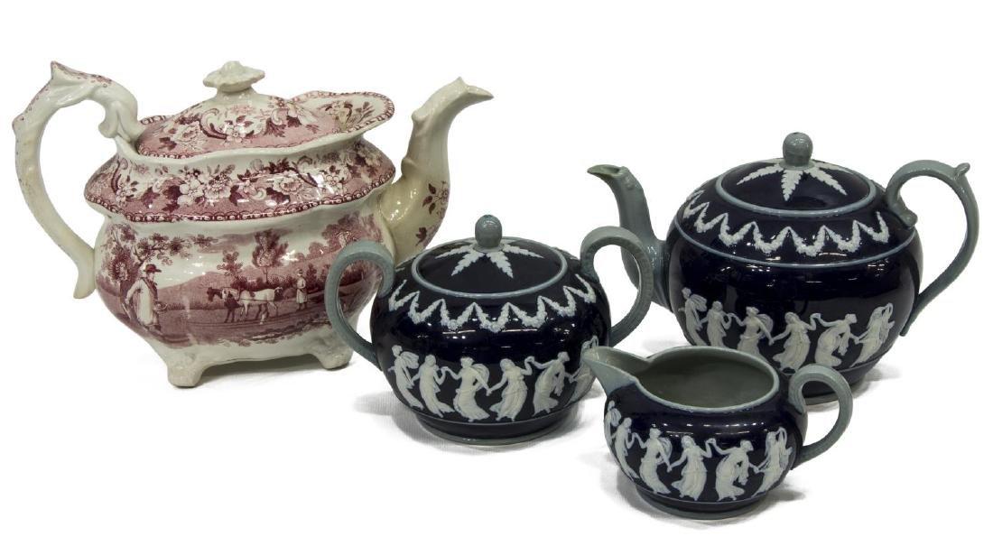 (4) STAFFORDSHIRE TEAPOT & COPELAND SPODE TEA SET