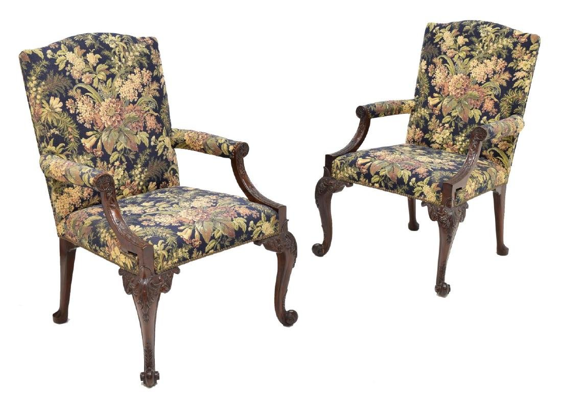 (PAIR) GEORGE III STYLE UPHOLSTERED ARMCHAIRS
