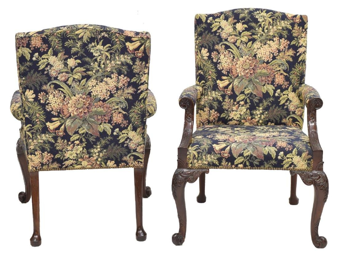 (PAIR) GEORGE III STYLE UPHOLSTERED ARMCHAIRS - 2