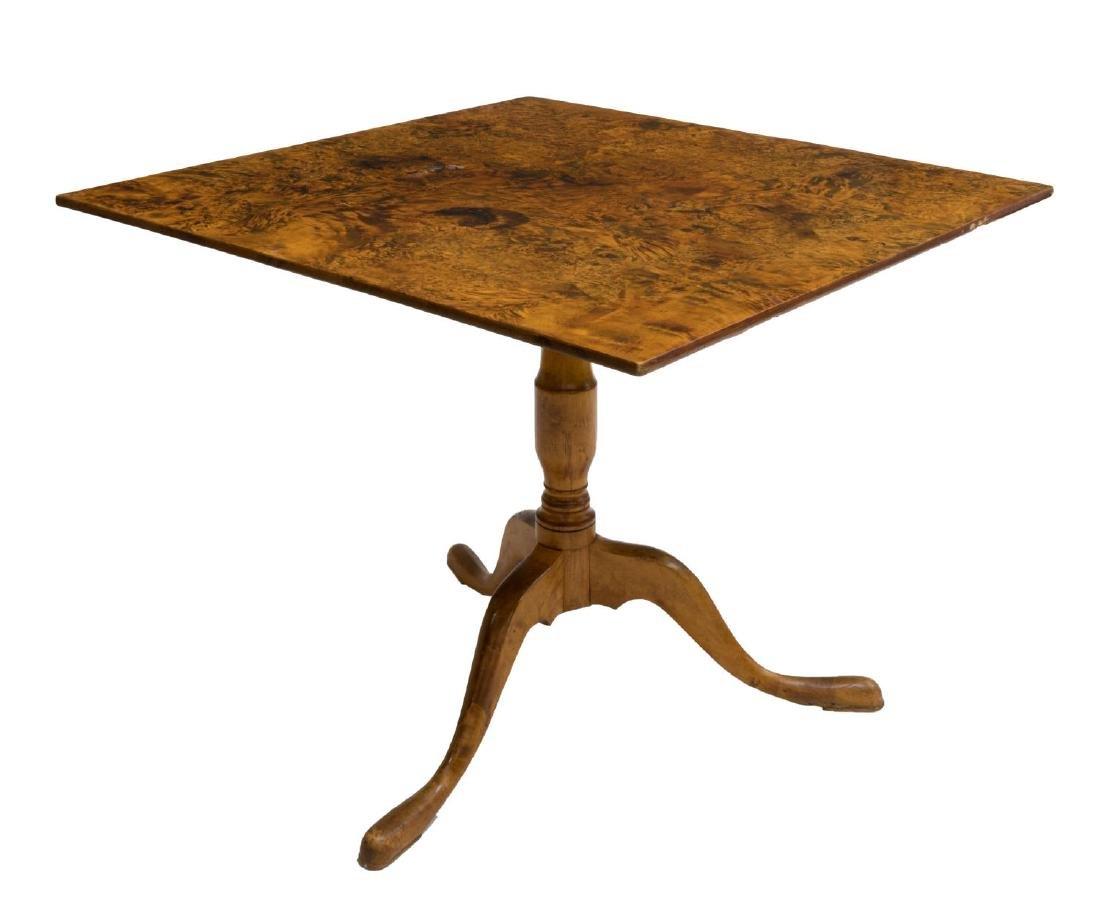 ANTIQUE SCANDINAVIAN BURLWOOD TILT TOP TABLE