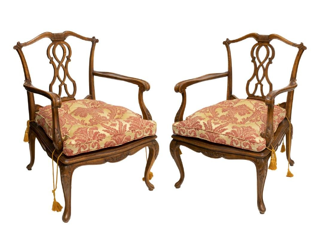 (2) VENETIAN CARVED WALNUT CANE SEAT ARMCHAIRS