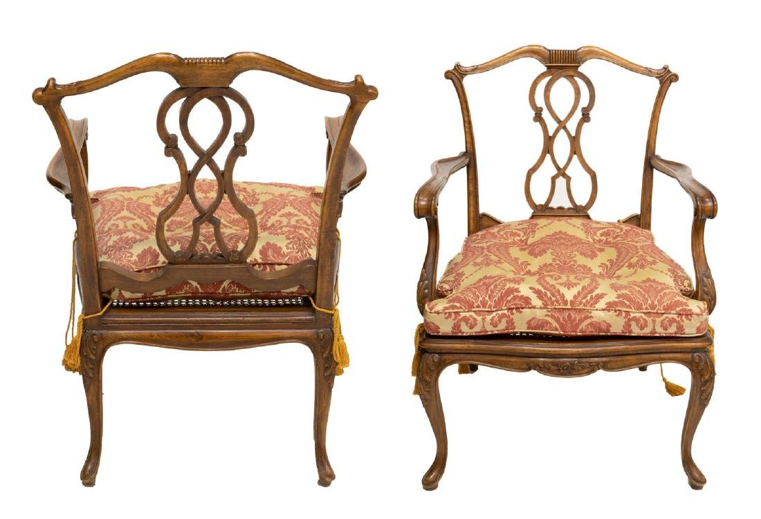 (2) VENETIAN CARVED WALNUT CANE SEAT ARMCHAIRS - 2