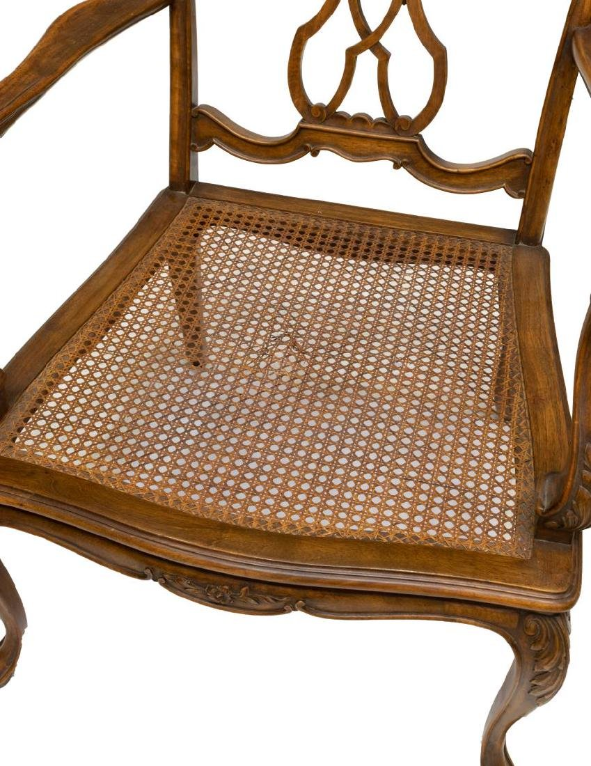 (2) VENETIAN CARVED WALNUT CANE SEAT ARMCHAIRS - 3