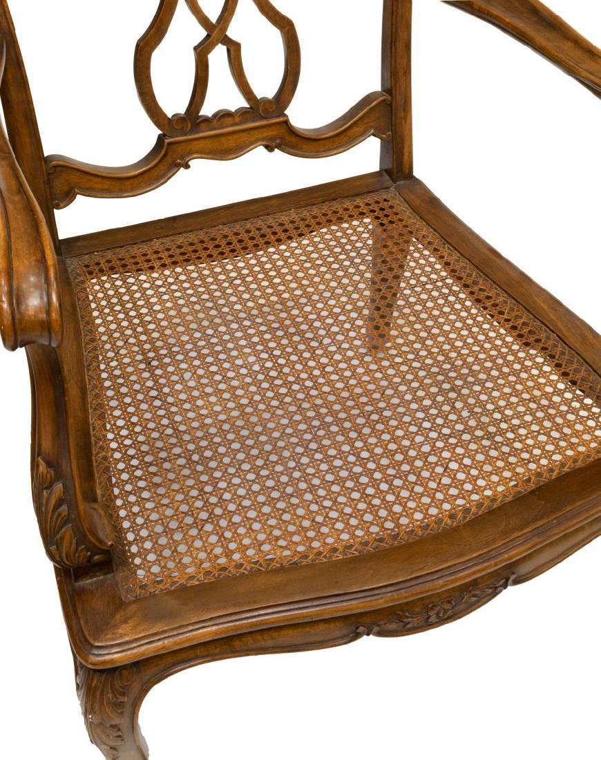 (2) VENETIAN CARVED WALNUT CANE SEAT ARMCHAIRS - 4