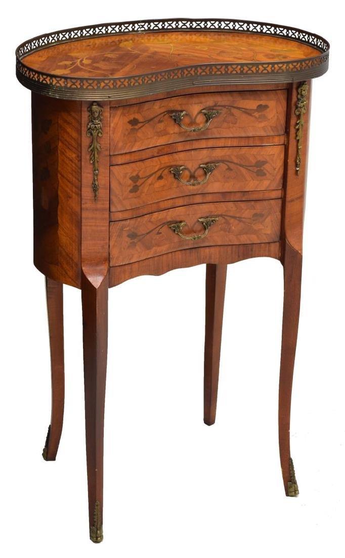 LOUIS XV STYLE WALNUT KIDNEY SHAPED SIDE TABLE