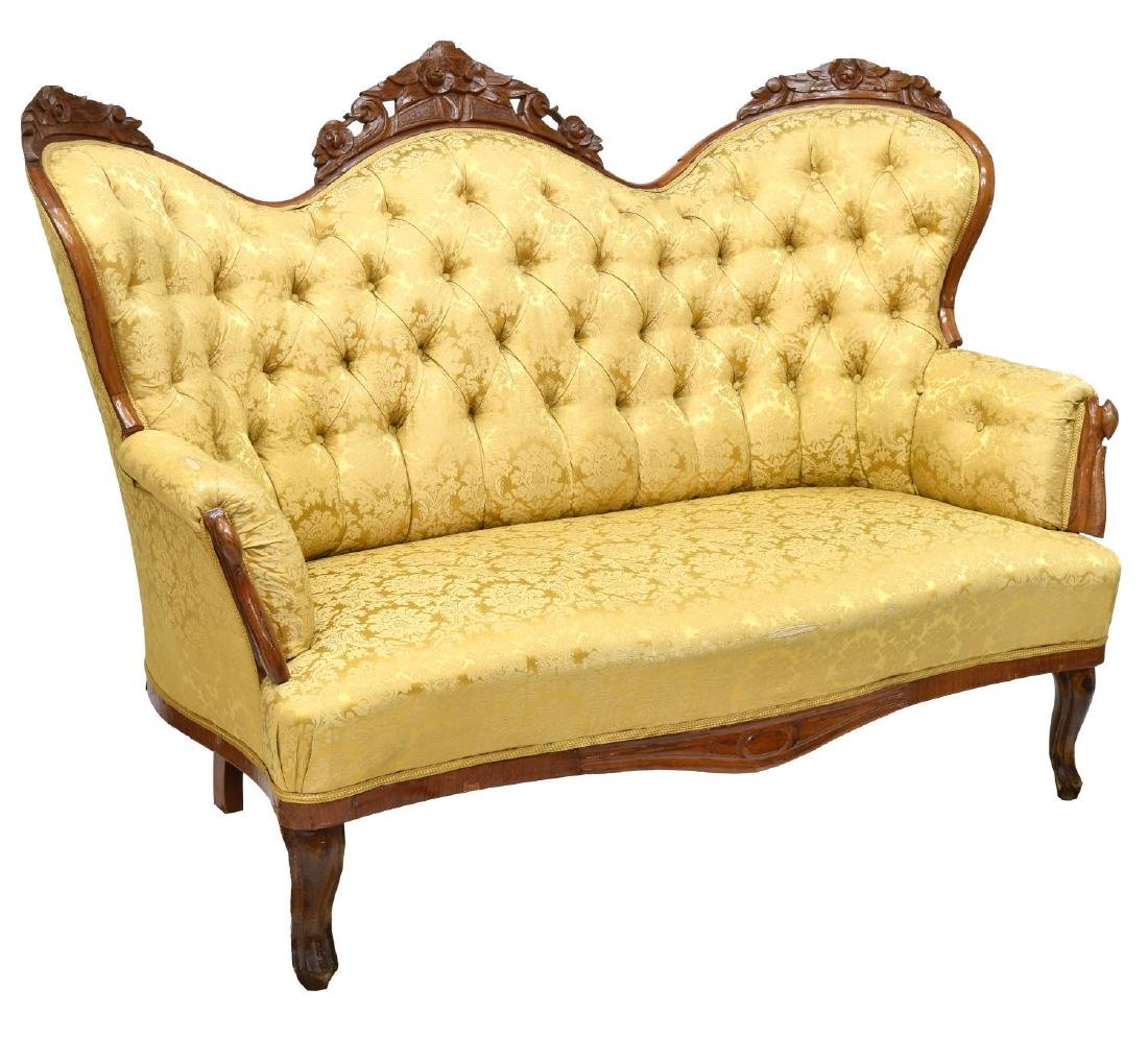 VICTORIAN STYLE FLORAL CARVED MAHOGANY PARLOR SOFA