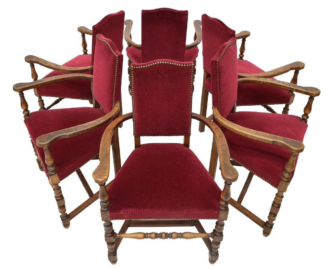 (6) FRENCH LOUIS XIII STYLE OAK DINING ARMCHAIRS