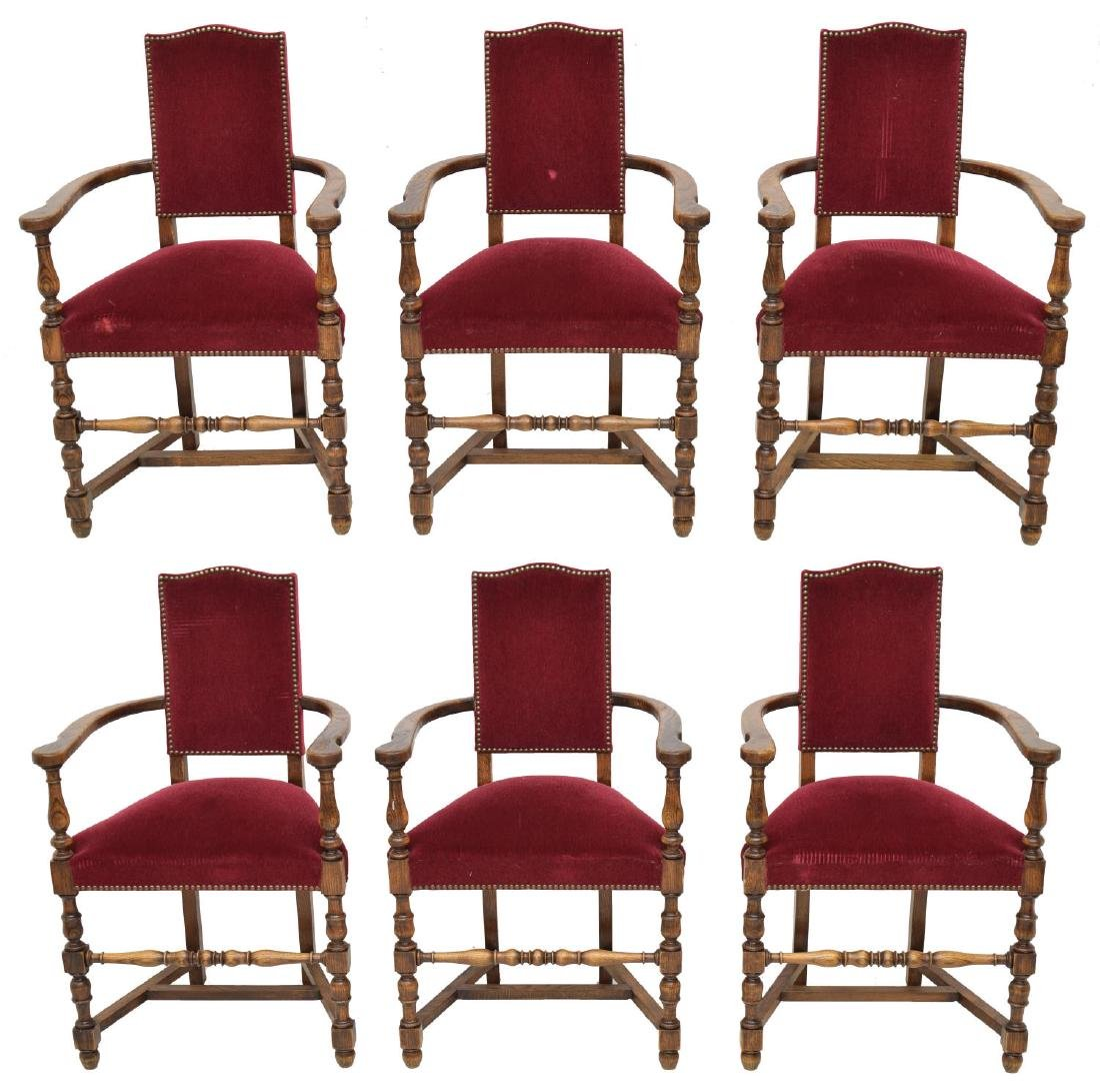 (6) FRENCH LOUIS XIII STYLE OAK DINING ARMCHAIRS - 2