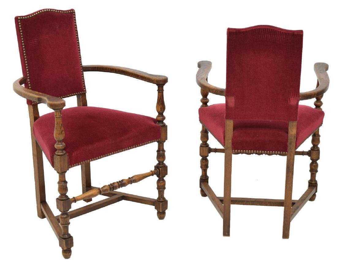 (6) FRENCH LOUIS XIII STYLE OAK DINING ARMCHAIRS - 3