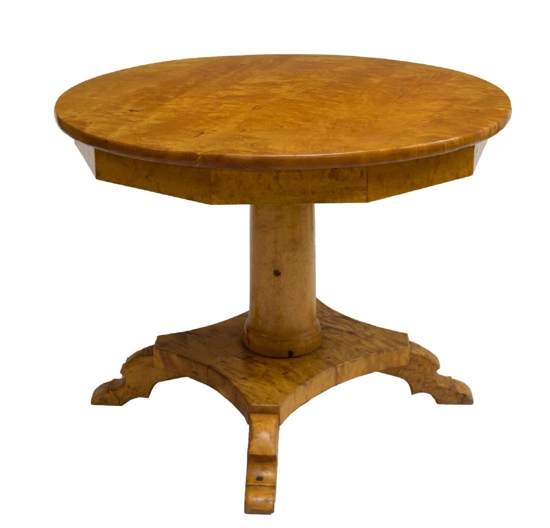 ANTIQUE SCANDINAVIAN BIRCHWOOD TILT TOP TABLE