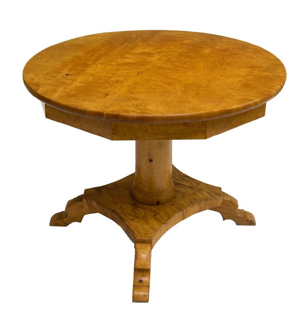 ANTIQUE SCANDINAVIAN BIRCHWOOD TILT TOP TABLE - 2