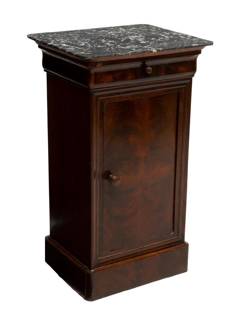 FRENCH CHARLES X MARBLE TOP MAHOGANY SIDE TABLE
