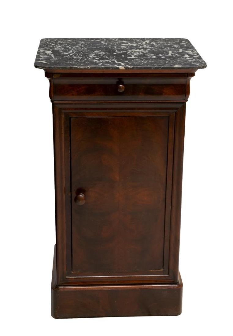 FRENCH CHARLES X MARBLE TOP MAHOGANY SIDE TABLE - 2