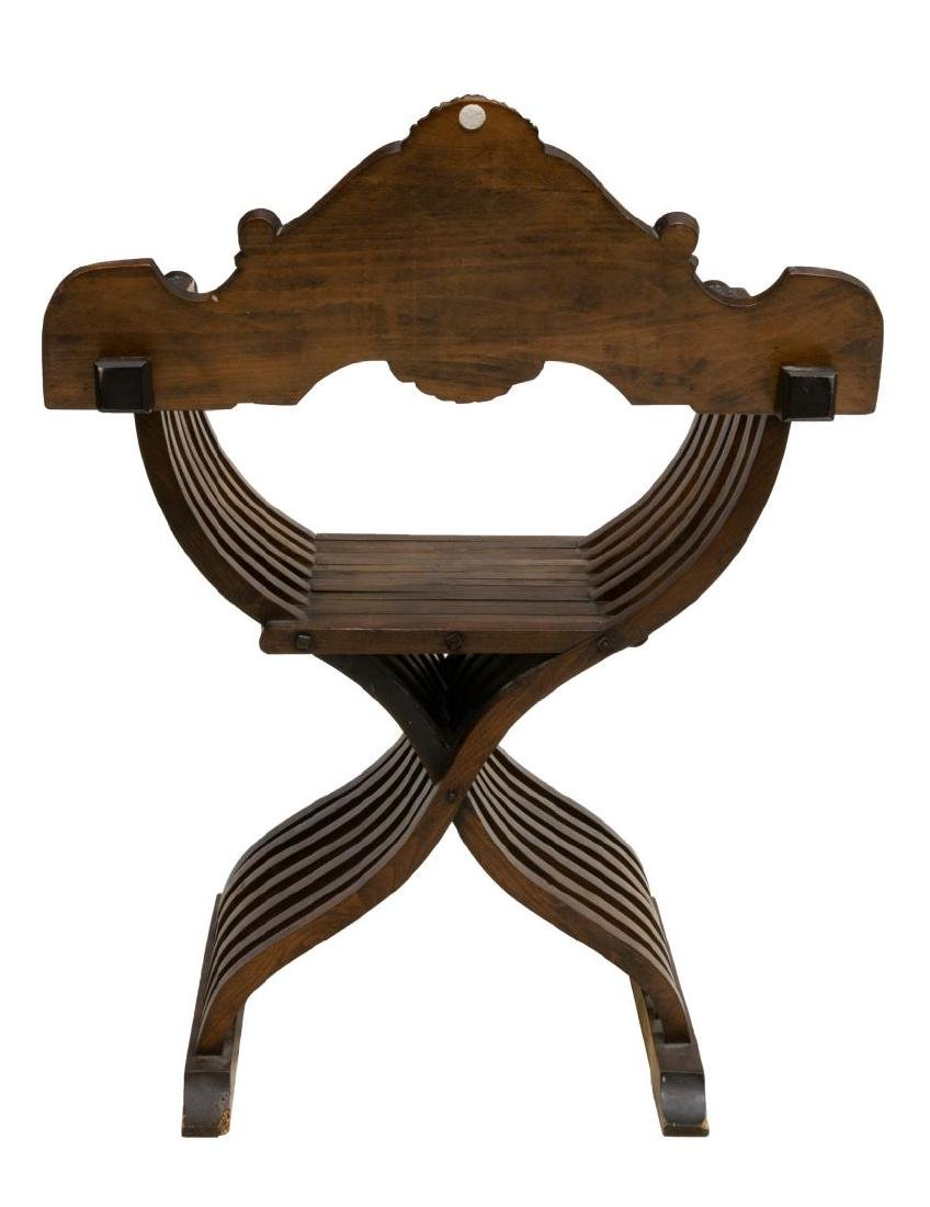ITALIAN CARVED WALNUT SAVONAROLA FOLIDING CHAIR - 3