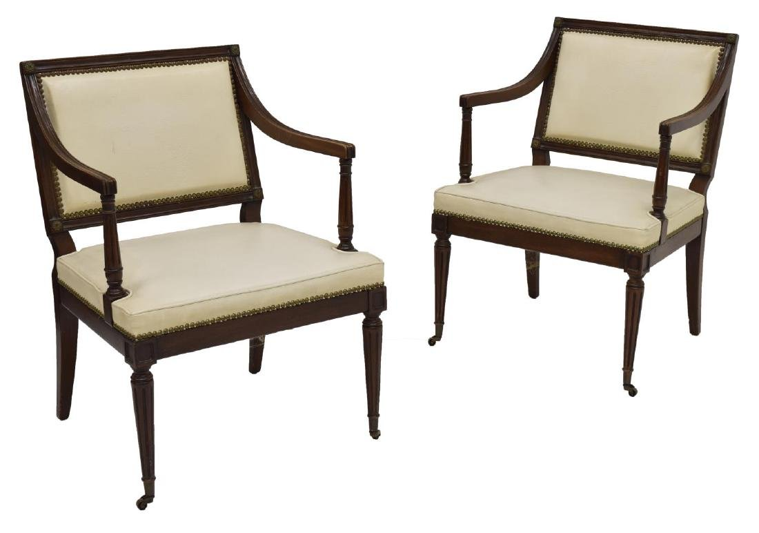(PAIR) NEOCLASSICAL STYLE UPHOLSTERED ARMCHAIRS