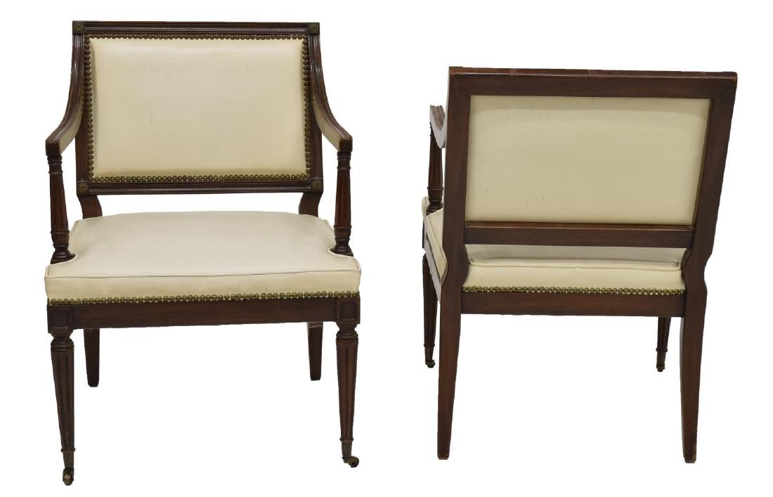 (PAIR) NEOCLASSICAL STYLE UPHOLSTERED ARMCHAIRS - 2