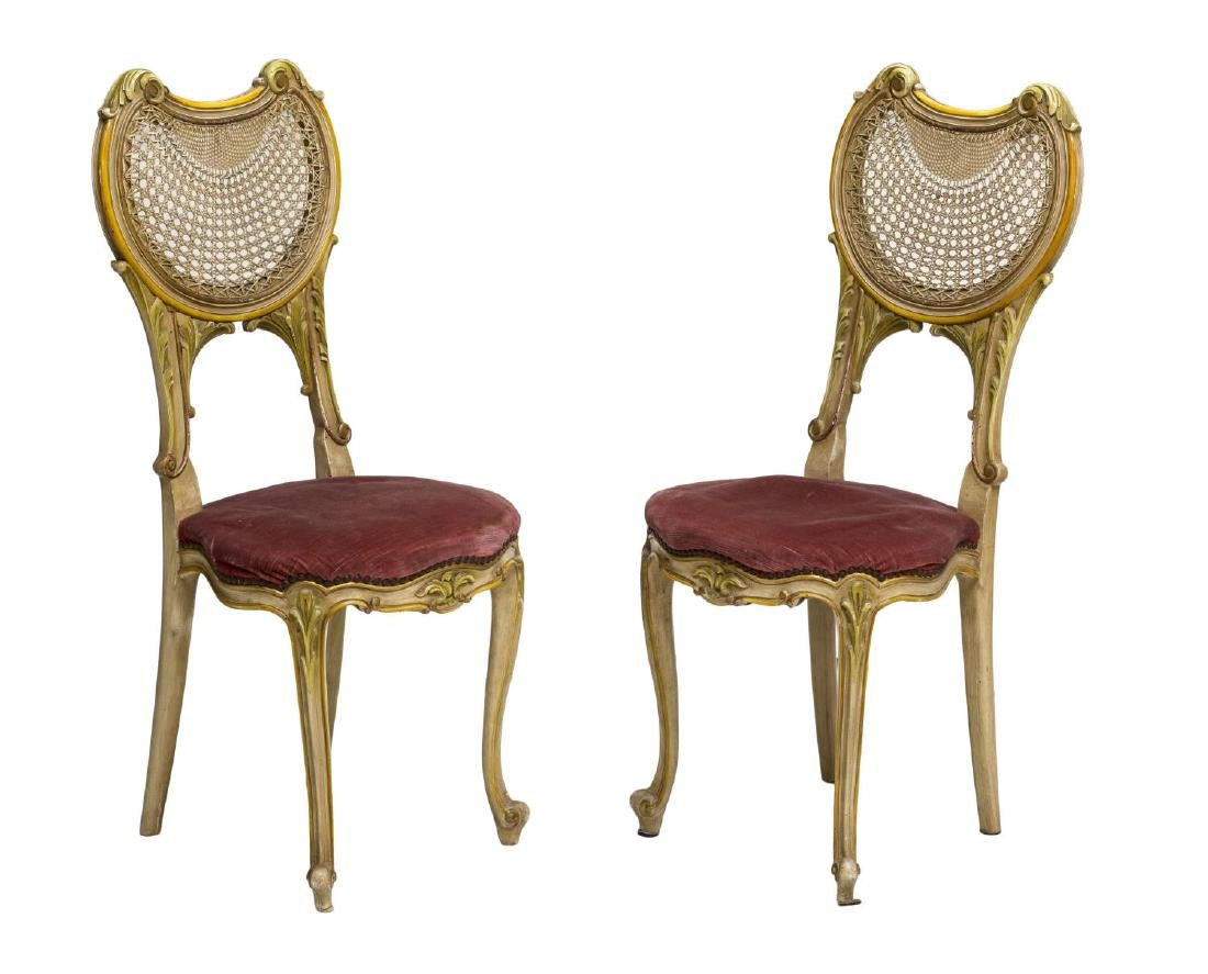(2) ITALIAN LOUIS XV STYLE CANED BACK SIDE CHAIRS