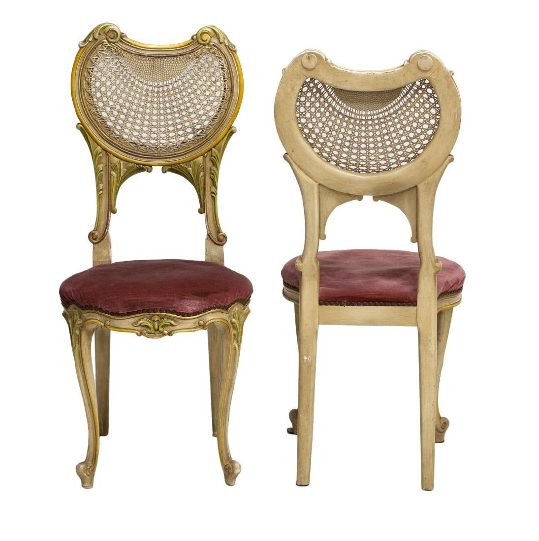 (2) ITALIAN LOUIS XV STYLE CANED BACK SIDE CHAIRS - 2