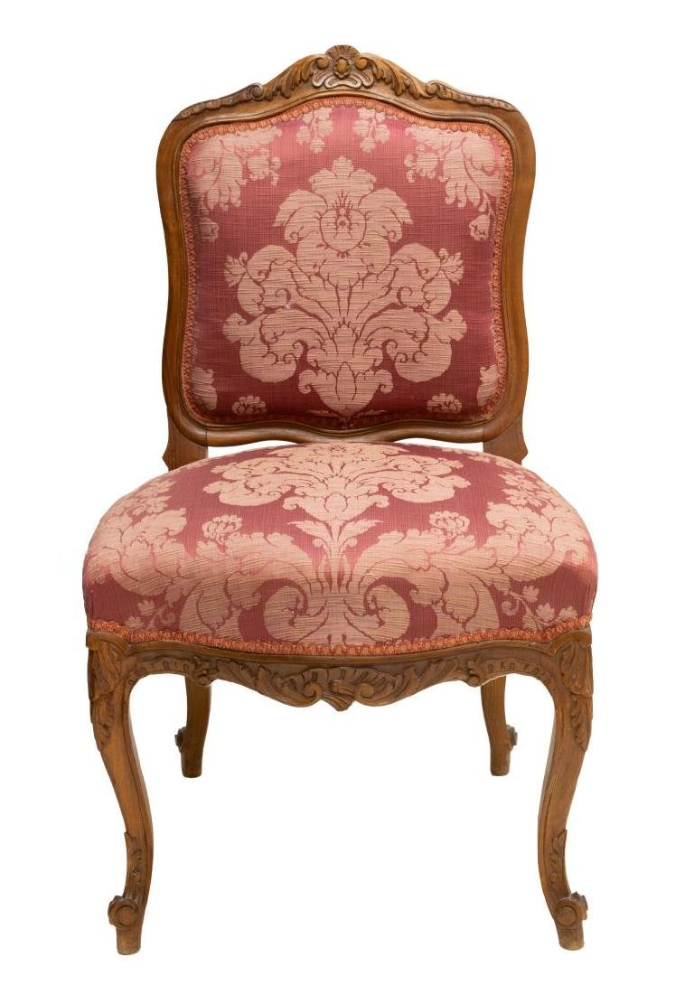 LOUIS XV STYLE CARVED WALNUT UPHOLSTERED CHAIR - 2