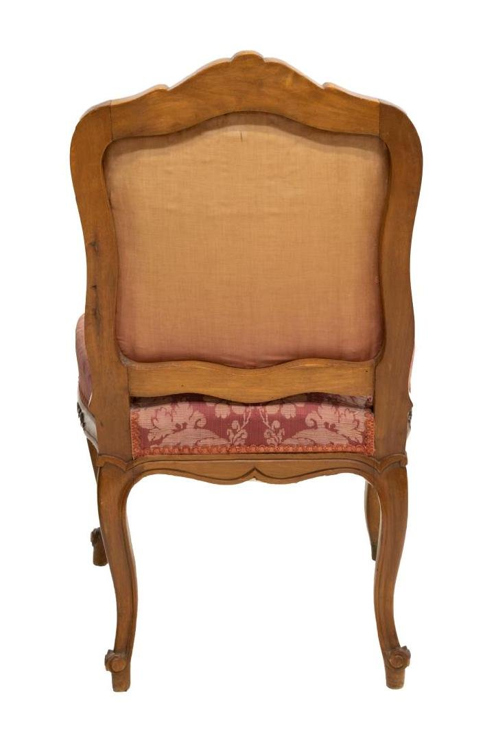 LOUIS XV STYLE CARVED WALNUT UPHOLSTERED CHAIR - 3