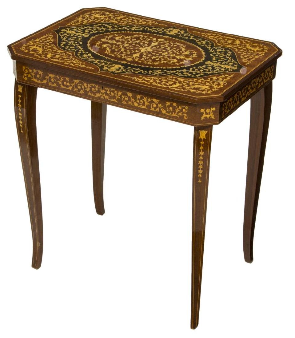 ITALIAN MARQUETRY MUSICAL SIDE TABLE