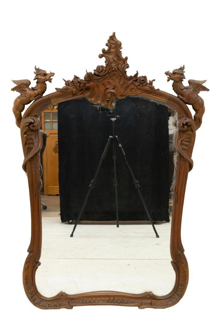 FRENCH RENAISSANCE REVIVAL WINGED GRIFFIN MIRROR - 2