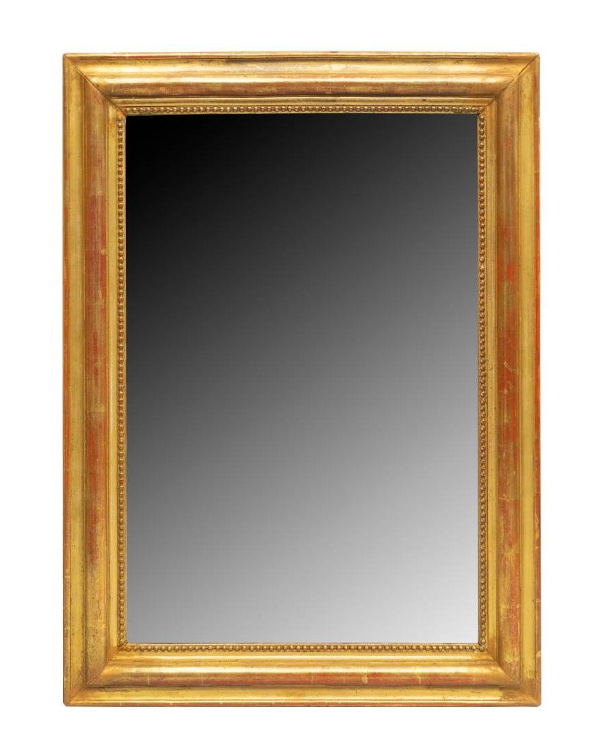 FRENCH GILTWOOD WALL MIRROR WITH BEADED TRIM