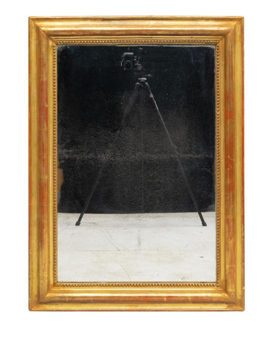 FRENCH GILTWOOD WALL MIRROR WITH BEADED TRIM - 2