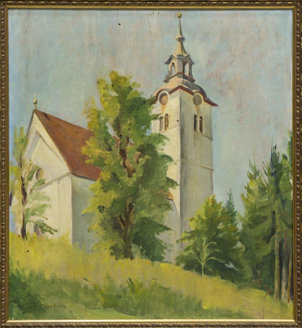 FRENCH SCHOOL OIL PAINTING CHURCH STEEPLE, SIGNED