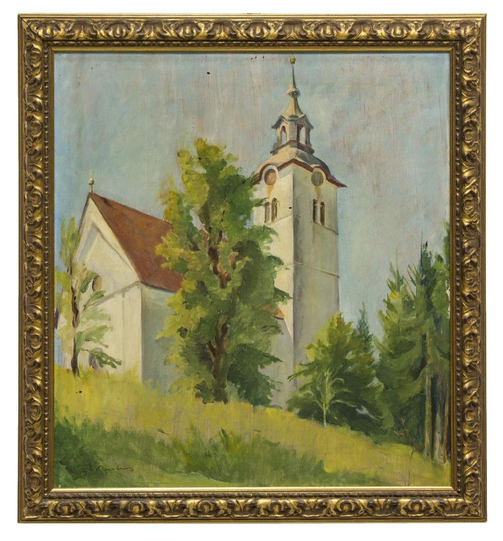 FRENCH SCHOOL OIL PAINTING CHURCH STEEPLE, SIGNED - 2