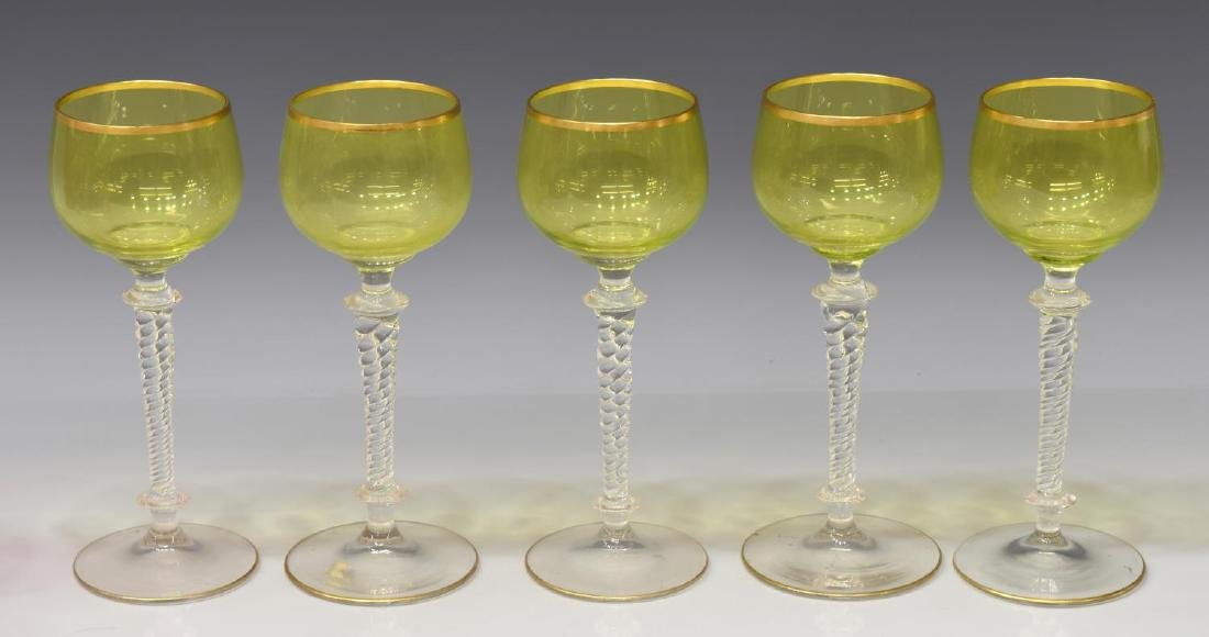(12) LOT OF CUT TO CLEAR & CHARTREUSE STEMWARE - 3