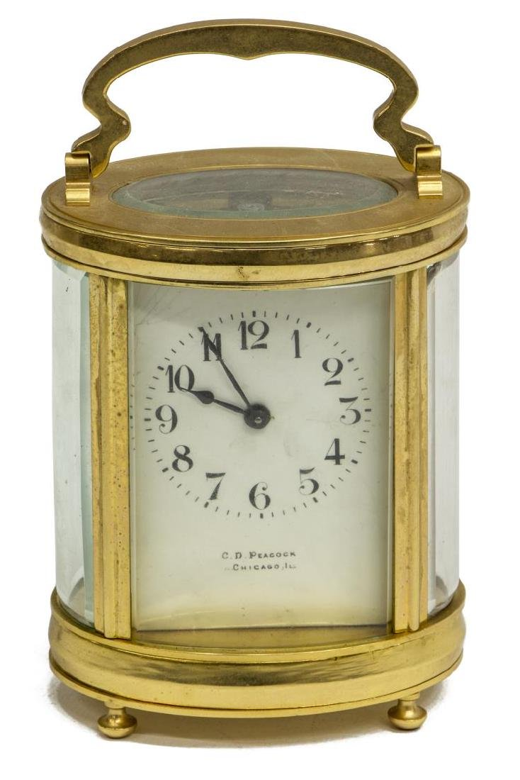 FRENCH CARRIAGE CLOCK RETAILED BY C.D. PEACOCK - 2