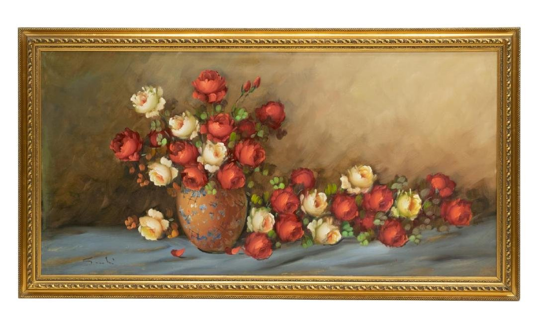 FRAMED OIL ON CANVAS PAINTING STILL LIFE W/ ROSES