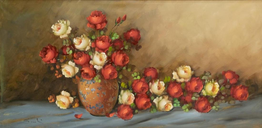 FRAMED OIL ON CANVAS PAINTING STILL LIFE W/ ROSES - 2