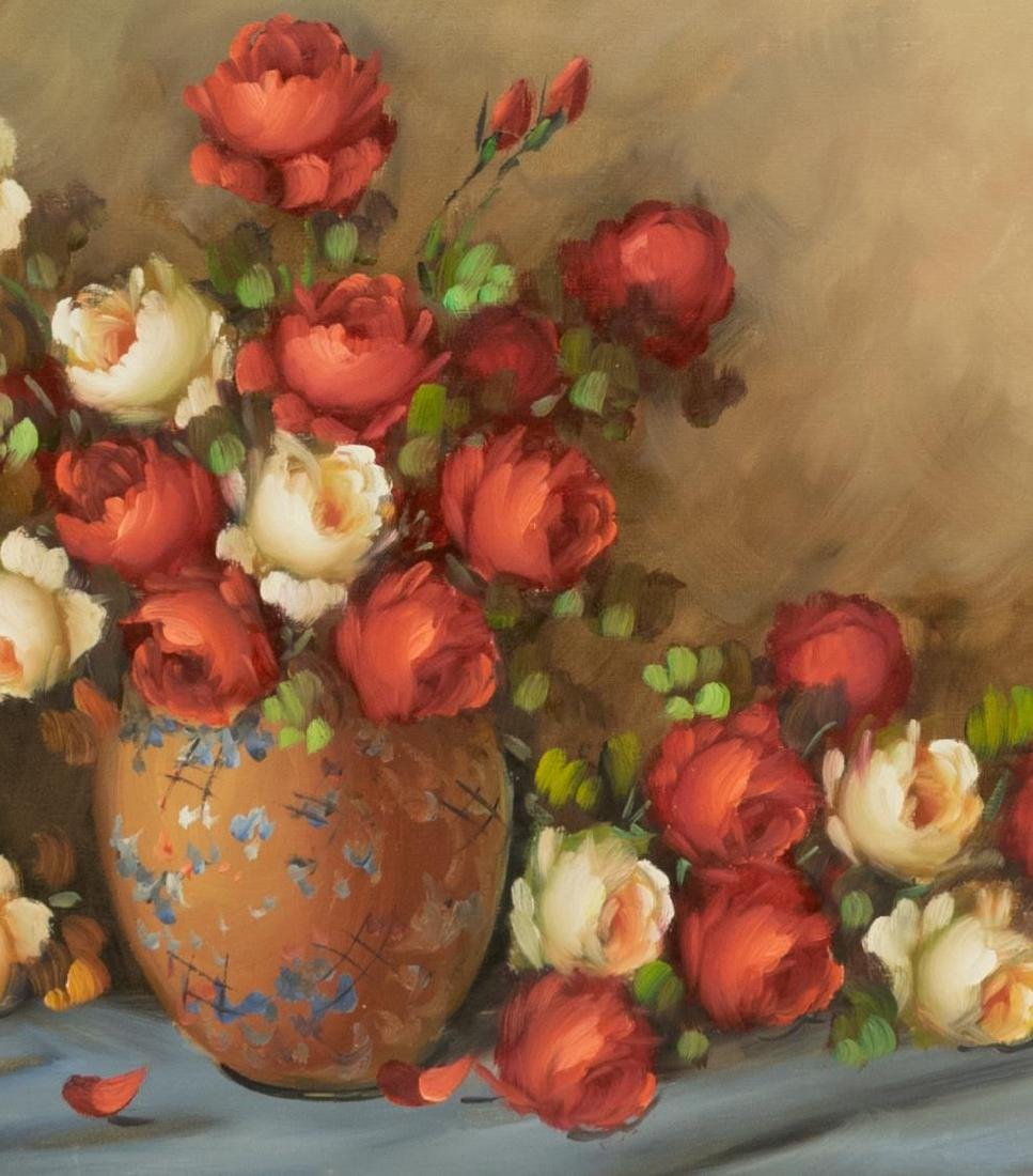 FRAMED OIL ON CANVAS PAINTING STILL LIFE W/ ROSES - 3