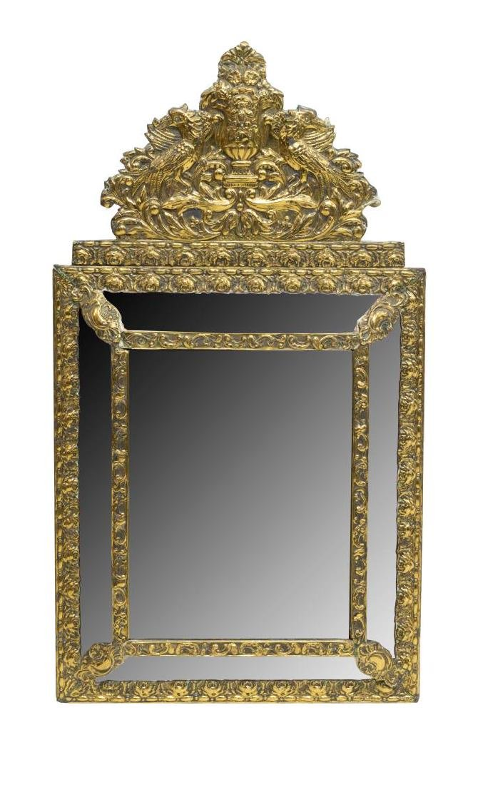 FRENCH GILT METAL REPOUSSE WALL MIRROR