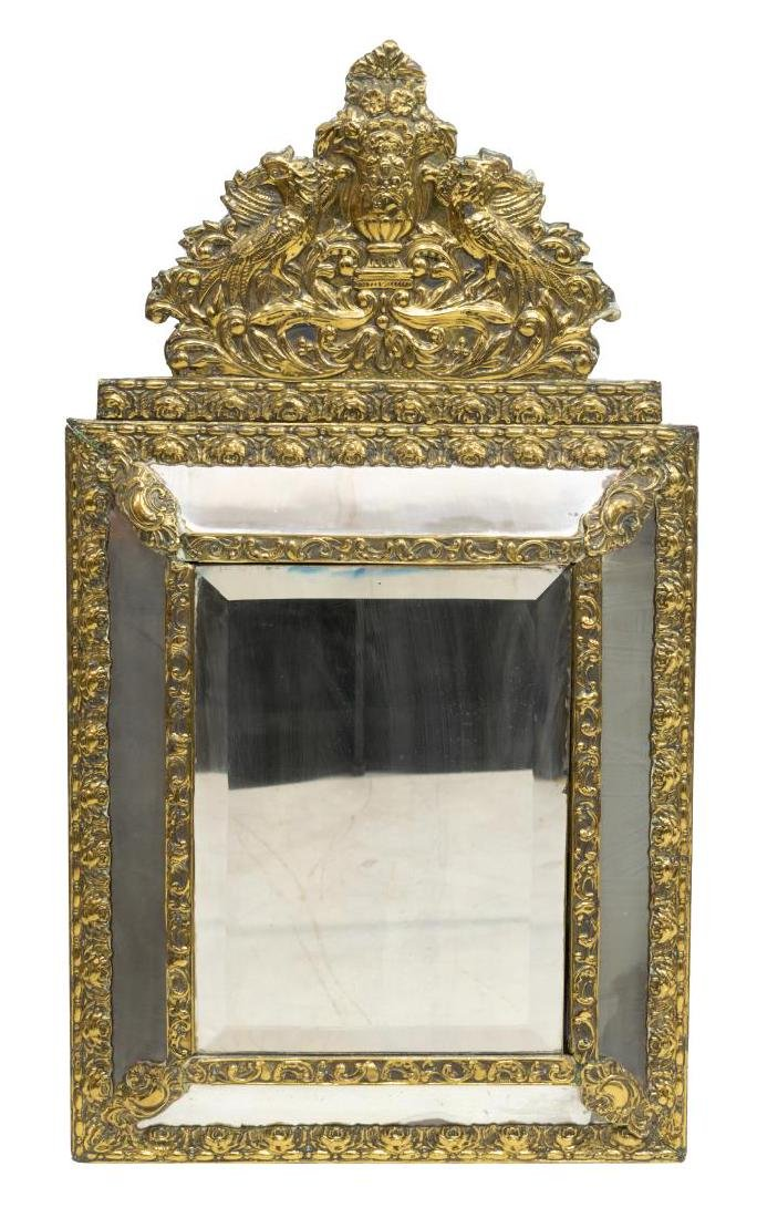 FRENCH GILT METAL REPOUSSE WALL MIRROR - 2