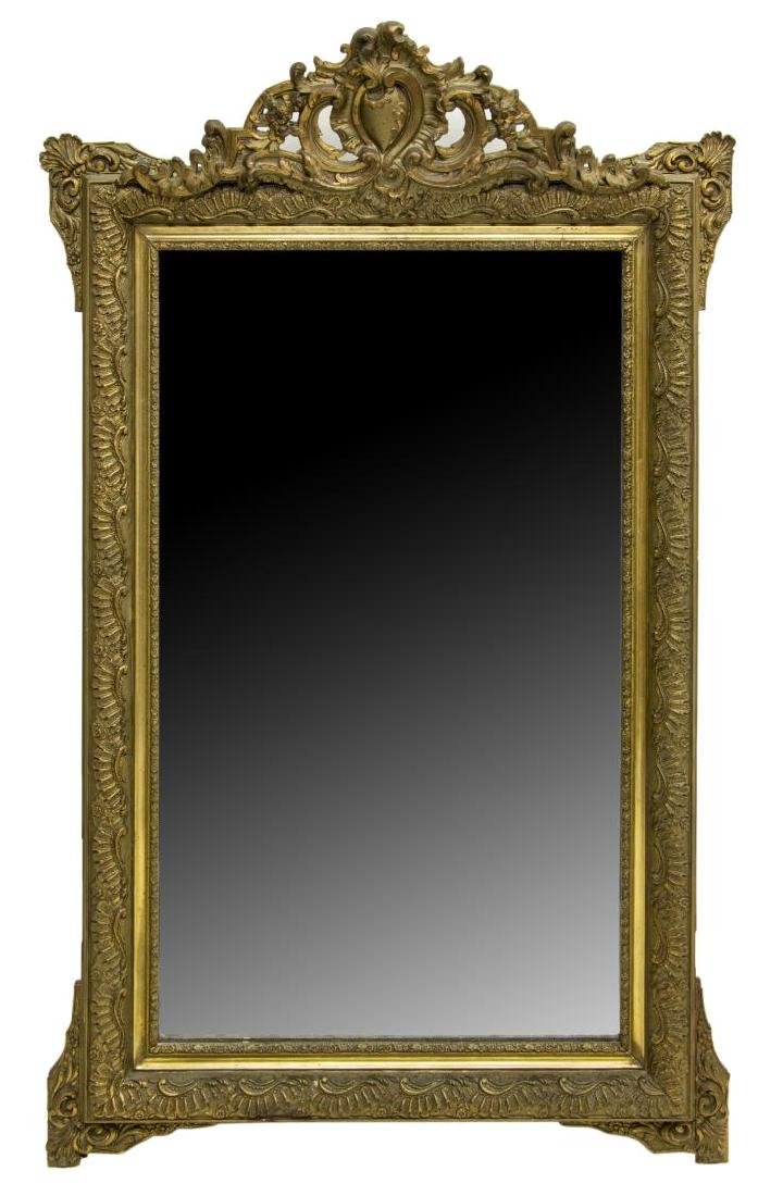 FRENCH LOUIS XV STYLE FOLIATED GILT WALL MIRROR