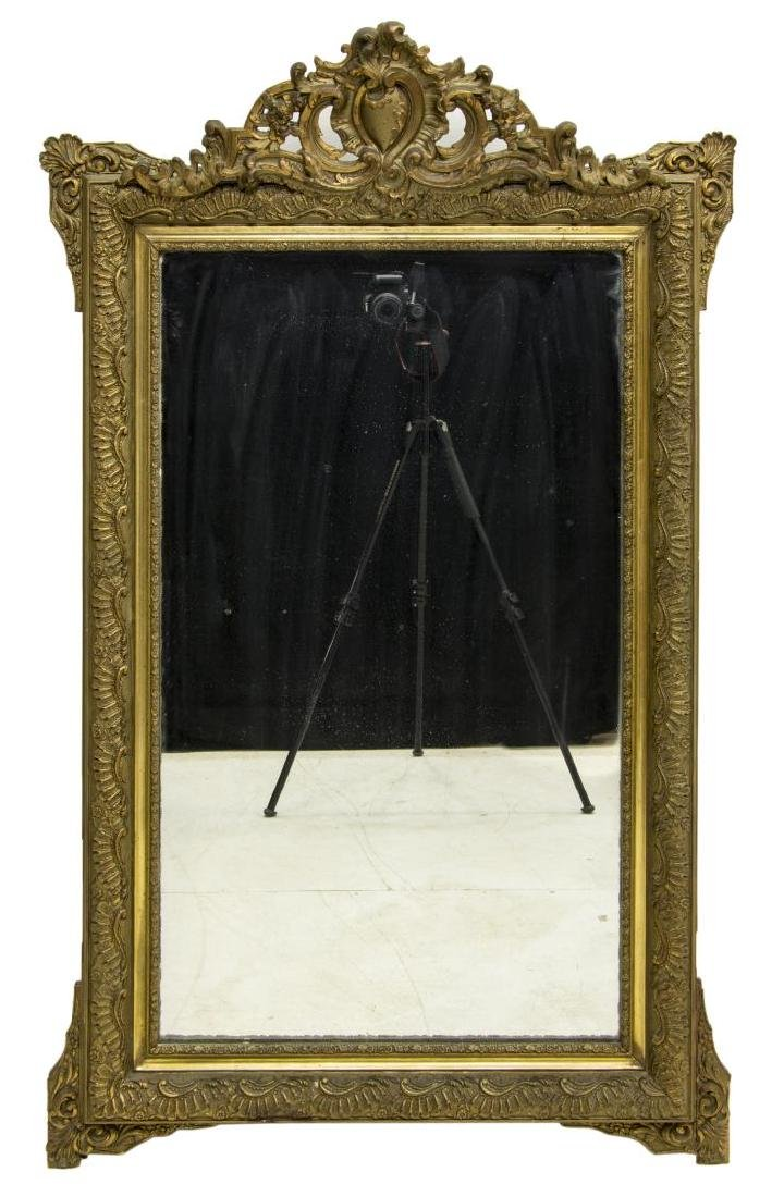 FRENCH LOUIS XV STYLE FOLIATED GILT WALL MIRROR - 2