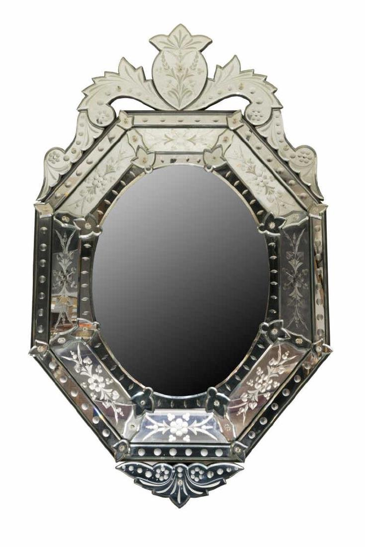 LARGE BEVELED & ETCHED OCTAGONAL VENETIAN MIRROR