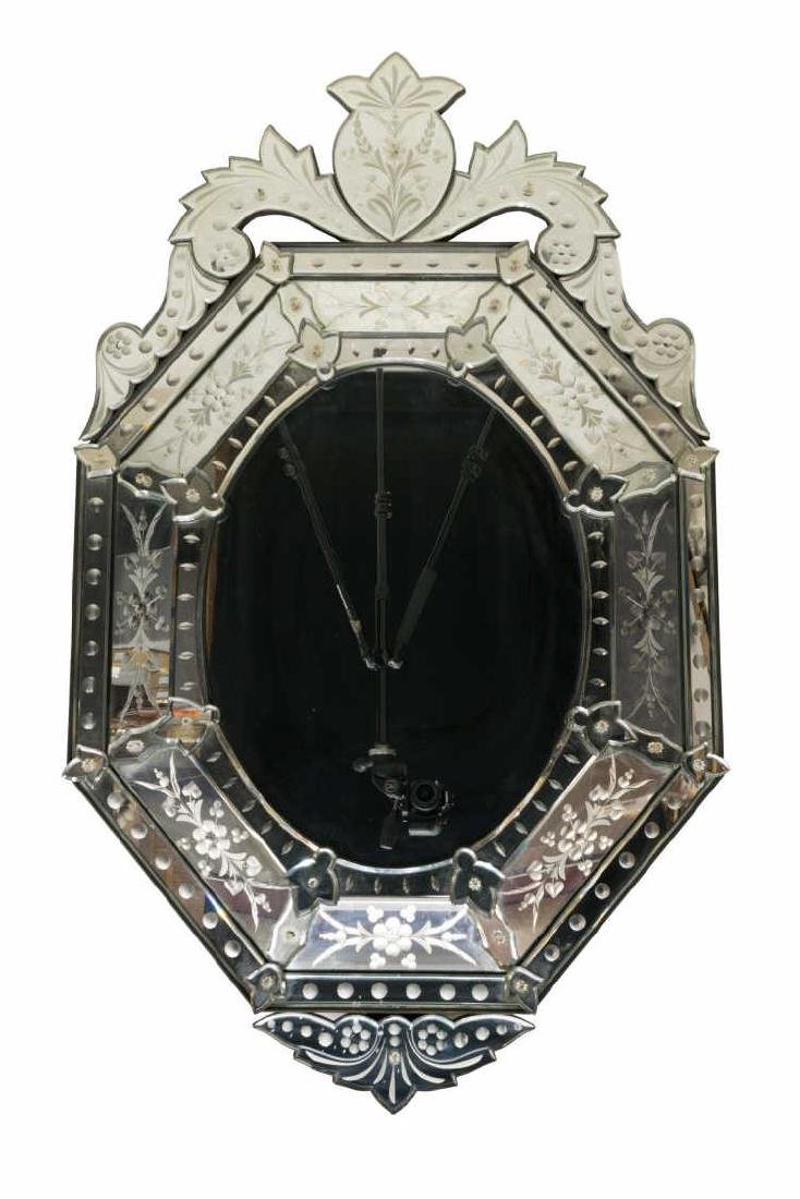 LARGE BEVELED & ETCHED OCTAGONAL VENETIAN MIRROR - 2