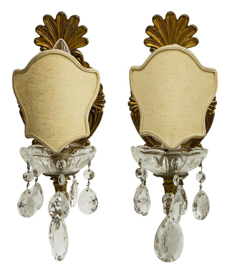 (2) ITALIAN GILT BRONZE ONE-LIGHT WALL SCONCES