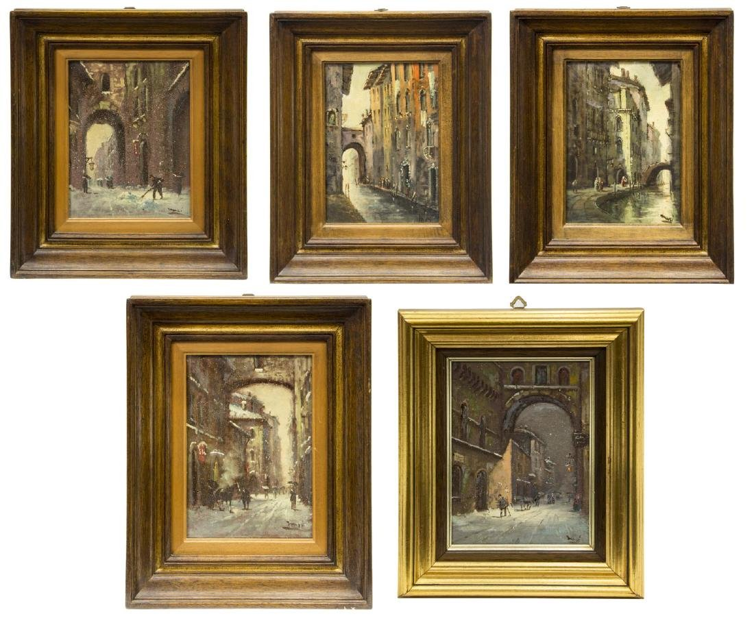 (5) ITALIAN SCHOOL PAINTINGS, SIGNED MARI