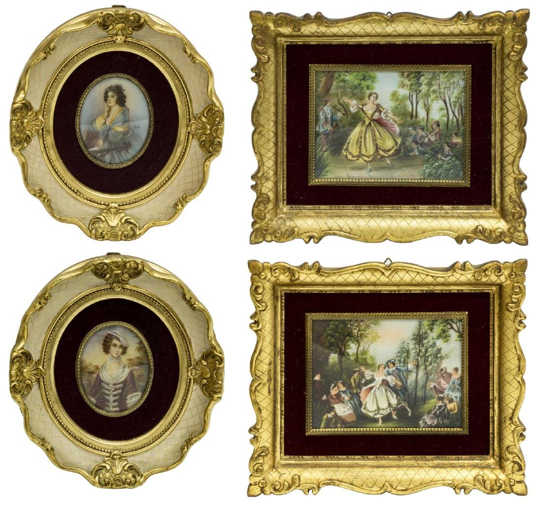 (4) FRAMED MINIATURE OIL PAINTINGS & PORTRAITS