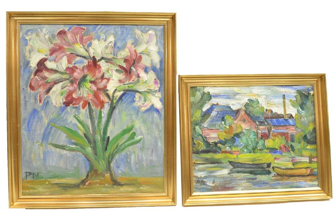 (2) FRAMED IMPASTO OIL ON BOARD PAINTINGS, SIGNED