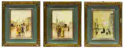 3 CONTINENTAL PAINTINGS ON BOARD