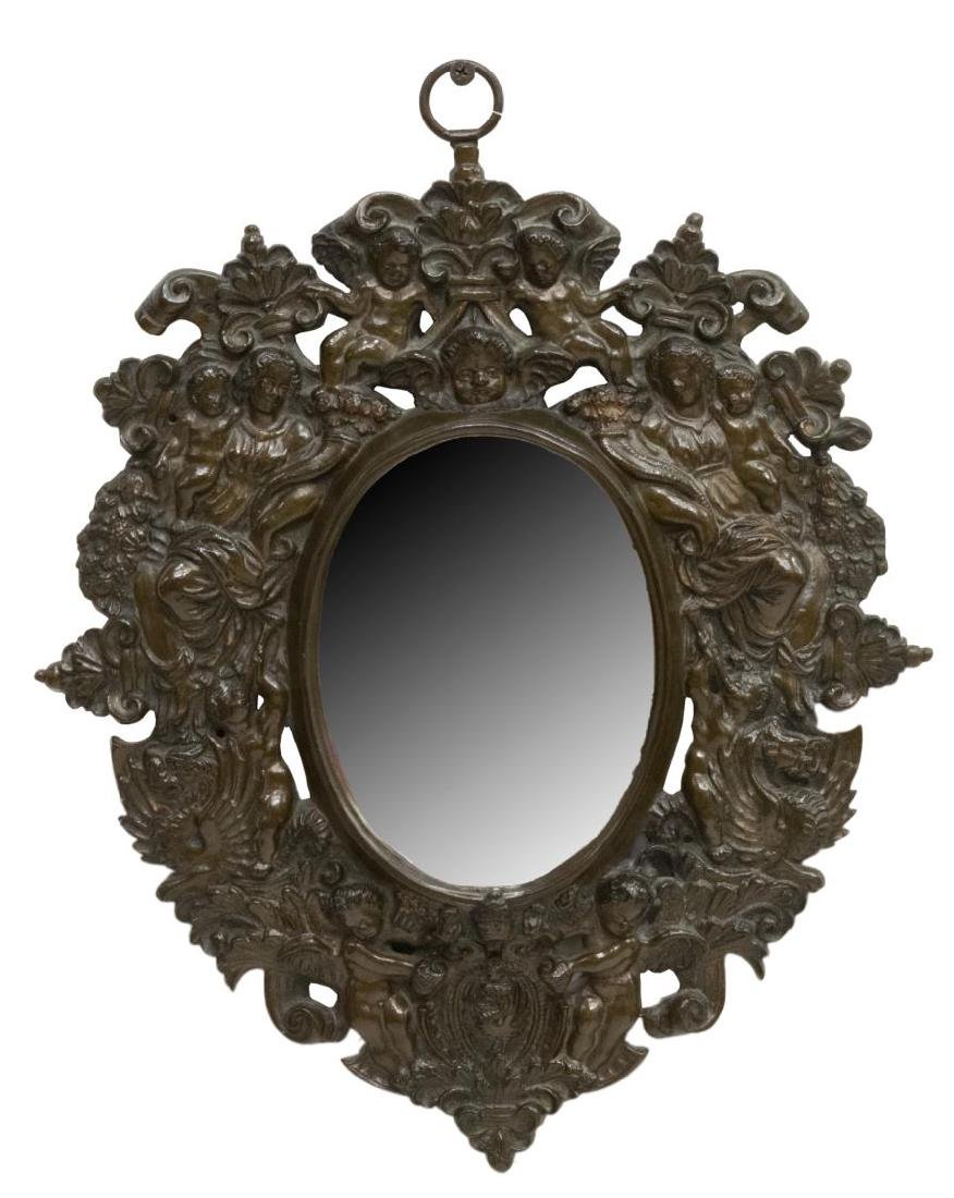 SMALL FIGURAL RELIEF BRONZE HANGING WALL MIRROR