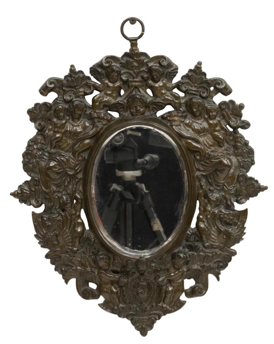SMALL FIGURAL RELIEF BRONZE HANGING WALL MIRROR - 2