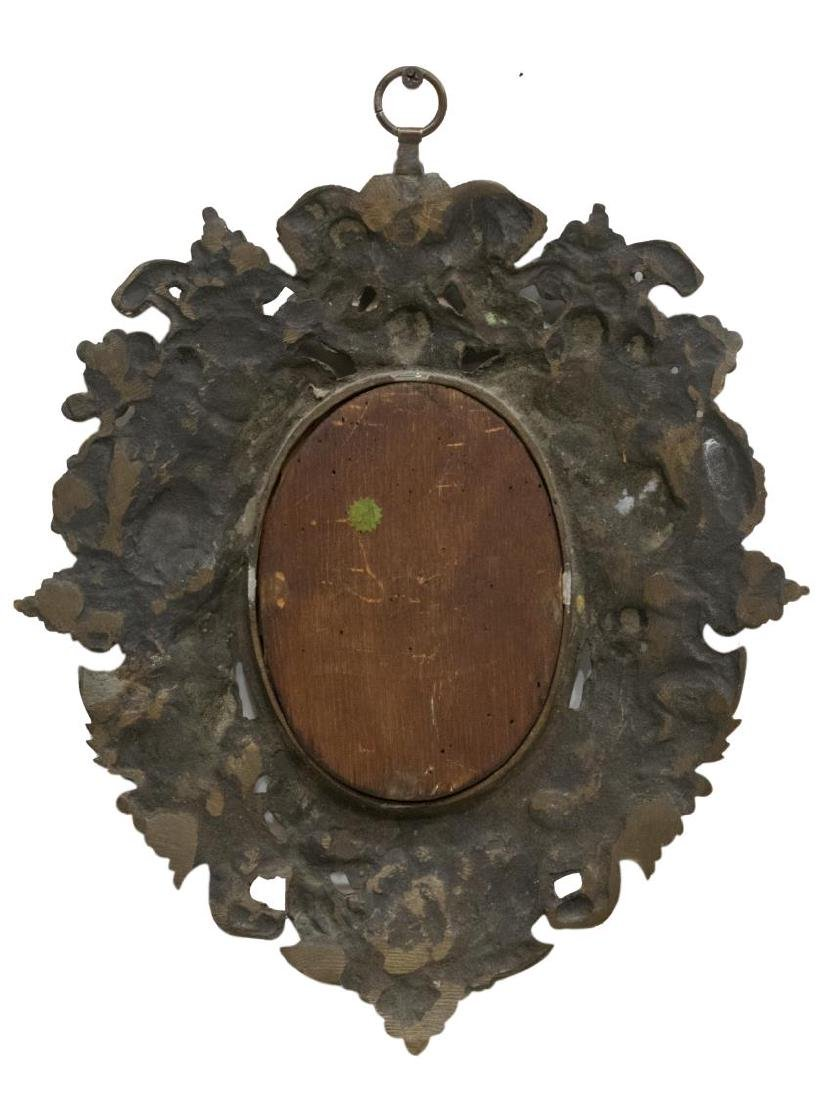 SMALL FIGURAL RELIEF BRONZE HANGING WALL MIRROR - 3